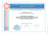 Сертификат Госкомитета по стандартизации, метрологии и патентам Респ. Азербайджан